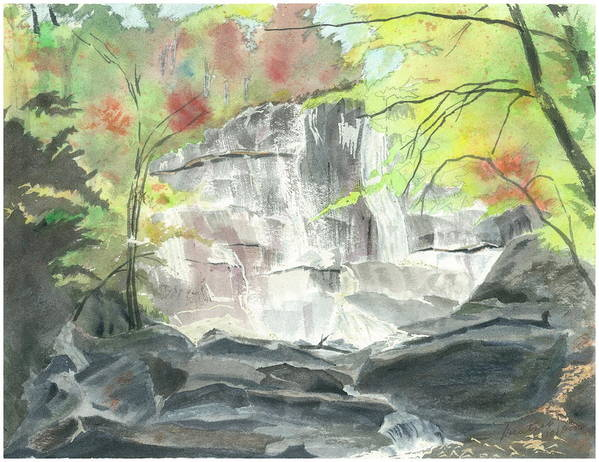 Stone Mtn Falls Poster featuring the painting Stone Mountain Falls - The Upper Cascade - IIi - Autumn by Joel Deutsch
