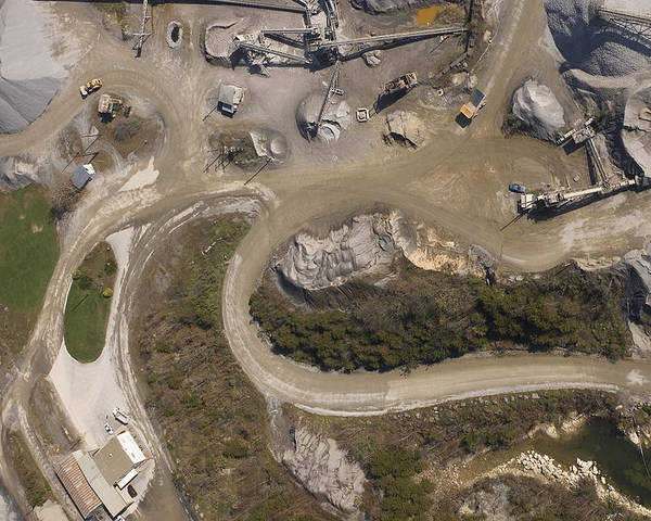 Stone Poster featuring the photograph Stone Quarry Aerial by Robert Ponzoni