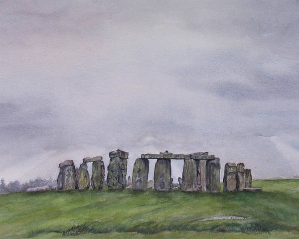Stonehenge Poster featuring the painting Stonehenge by Debbie Homewood