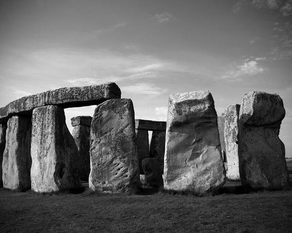 Stonehenge No 1 Bw Poster featuring the photograph Stonehenge No 1 Bw by Kamil Swiatek