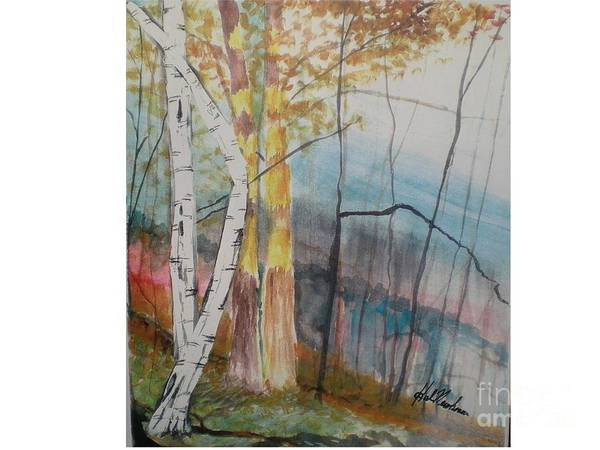 Birch Trees Poster featuring the painting Stoney Brooke Park by Hal Newhouser