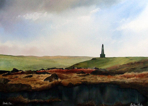 Landscape Poster featuring the painting Stoodley Pike by Paul Dene Marlor