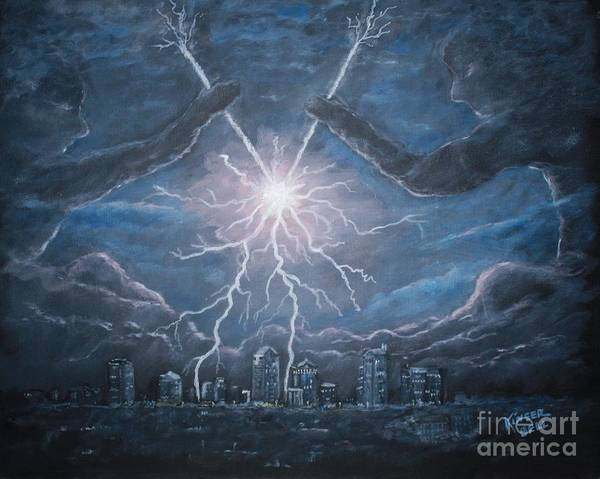 Lightning Poster featuring the painting Storm Games by Marlene Kinser Bell