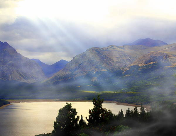 Glacier National Park Poster featuring the photograph Storms A Coming-lower Two Medicine Lake by Marty Koch