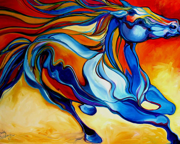 Horse Poster featuring the painting Stormy An Equine Abstract Southwest by Marcia Baldwin