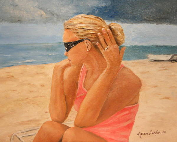 Woman Poster featuring the painting Stormy Engagement by Dyanne Parker