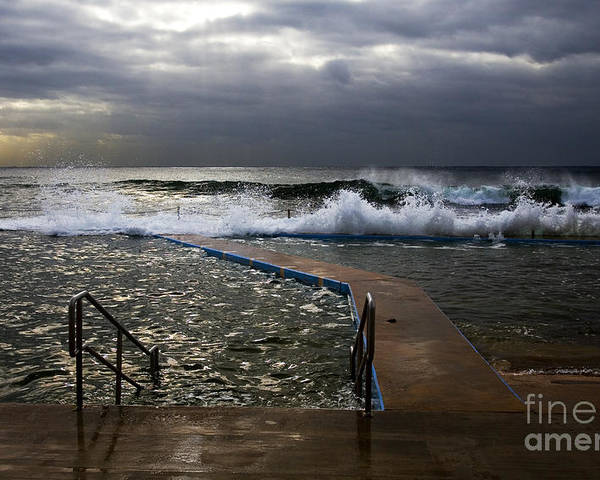 Storm Clouds Collaroy Beach Australia Poster featuring the photograph Stormy Morning At Collaroy by Sheila Smart Fine Art Photography