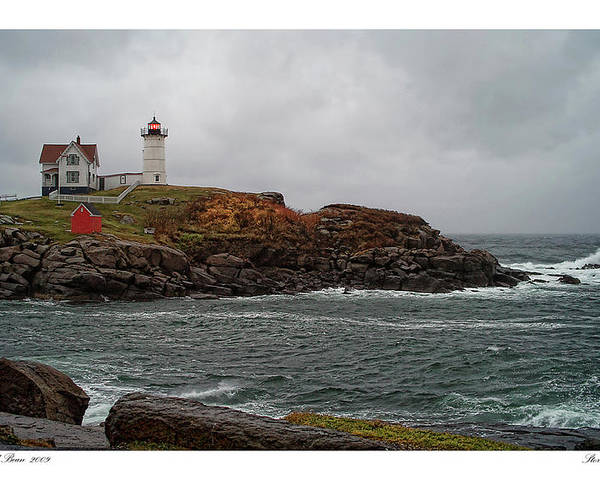 Architecture Poster featuring the photograph Stormy Nubble by Richard Bean