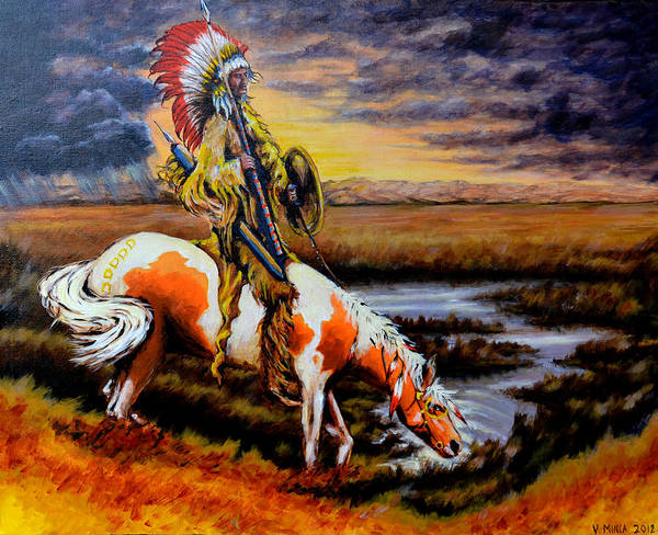 Indian Poster featuring the painting Stormy Prairie by Victor Minca
