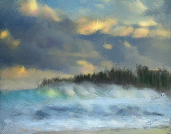 Stormy Poster featuring the painting Stormy Seas by Diana Ralph