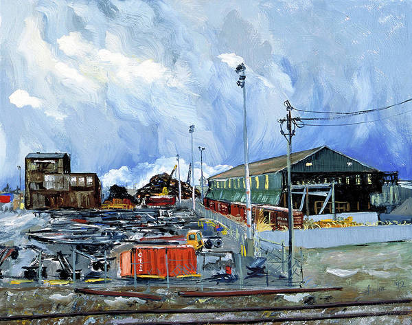 Urban Industrial Landscape Painting Poster featuring the painting Stormy Sky Over Shipyard And Steel Mill by Asha Carolyn Young