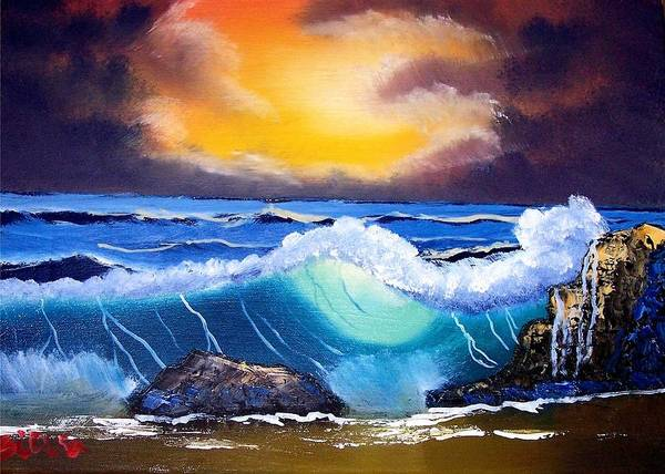 Landscape Poster featuring the painting Stormy Sunset Shoreline by Dina Sierra