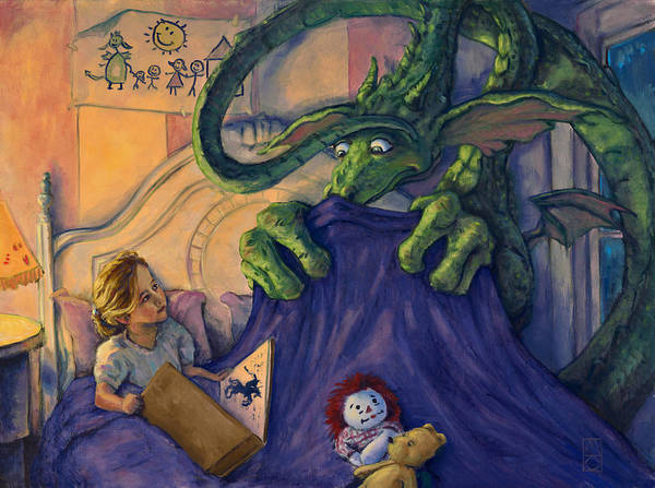 Dragon Poster featuring the painting Story Time by Michael Orwick