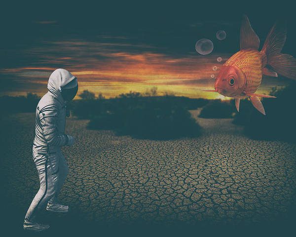 Astronaut Poster featuring the digital art Strange Encounter by Katherine Smit