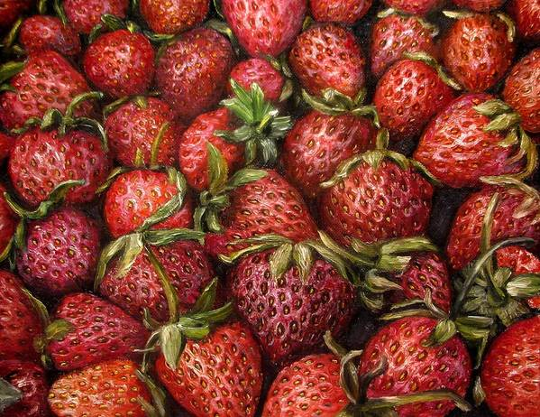 Strawberries Poster featuring the painting Strawberries -2 Contemporary Oil Painting by Natalja Picugina