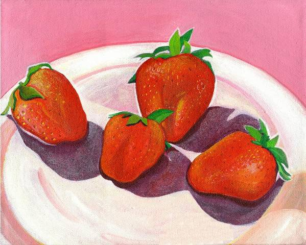 Food Poster featuring the painting Strawberries and Cream by Helena Tiainen