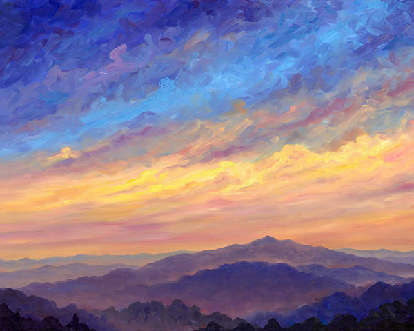 Cold Mountain Poster featuring the painting Streaking Sky Over Cold Mountain by Jeff Pittman