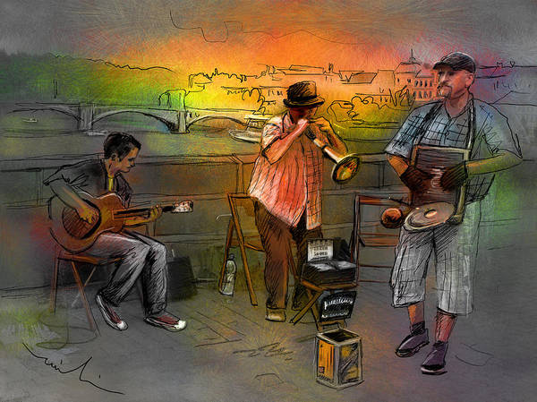 Music Poster featuring the painting Street Musicians In Prague In The Czech Republic 03 by Miki De Goodaboom