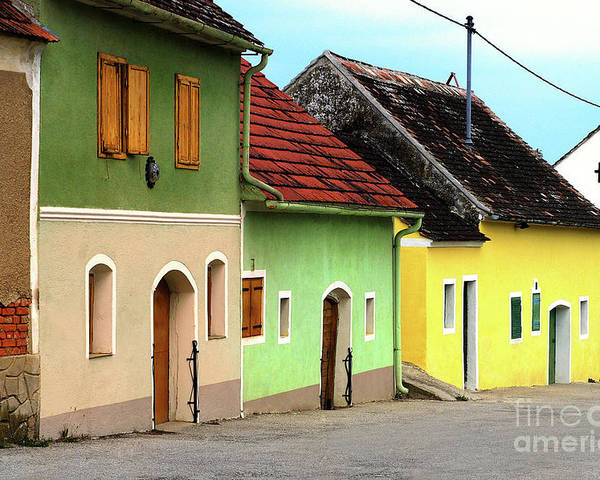 Street Of Wine Cellar Houses Poster featuring the photograph Street Of Wine Cellar Houses by Mariola Bitner