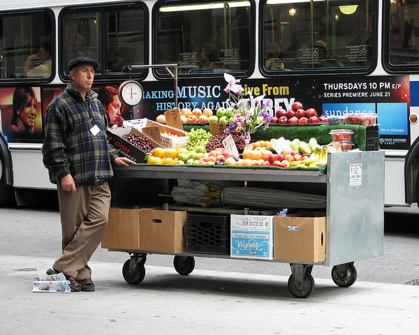 Darin Volpe People Poster featuring the photograph Street Orchard -- Street Vendor In New York City, New York by Darin Volpe