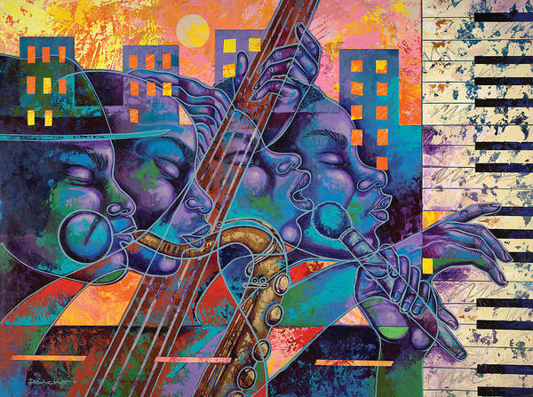 Figurative Poster featuring the painting Street Songs by Larry Poncho Brown