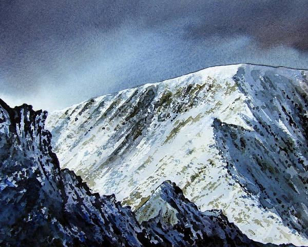 Mountain Poster featuring the painting Striding Edge On Helvellin by Paul Dene Marlor