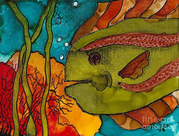 Fish Poster featuring the painting Striped Fish by Susan Kubes