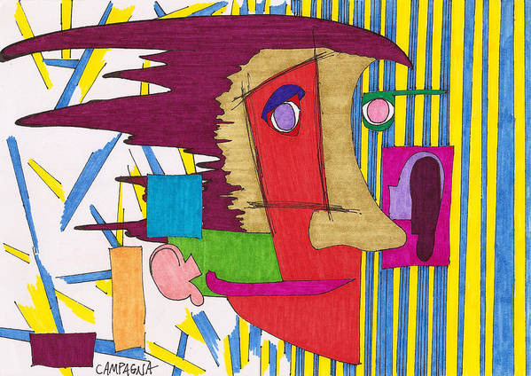 Marker Poster featuring the drawing Striped Wallpaper by Teddy Campagna