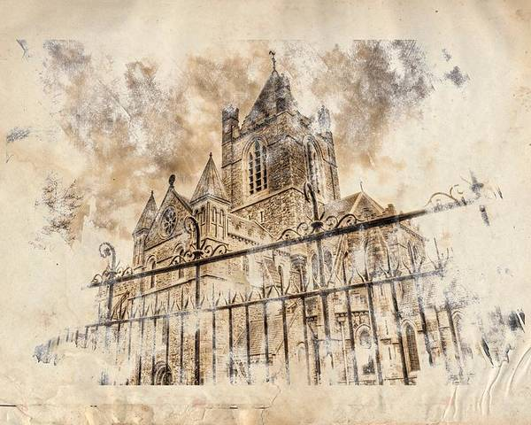 Patrick Poster featuring the digital art Stroked S.patrick Cathedral by Andrea Barbieri