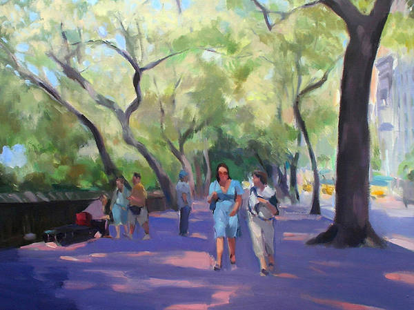 New York Poster featuring the painting Strolling In Central Park by Merle Keller
