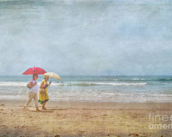 Two Elderly Women Strolling On Beach Shaded By Colorful Umbrellas Poster featuring the photograph Strolling On The Beach by David Zanzinger