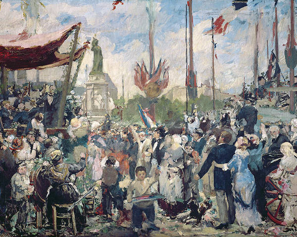 Study Poster featuring the painting Study For Le 14 Juillet 1880 by Alfred Roll