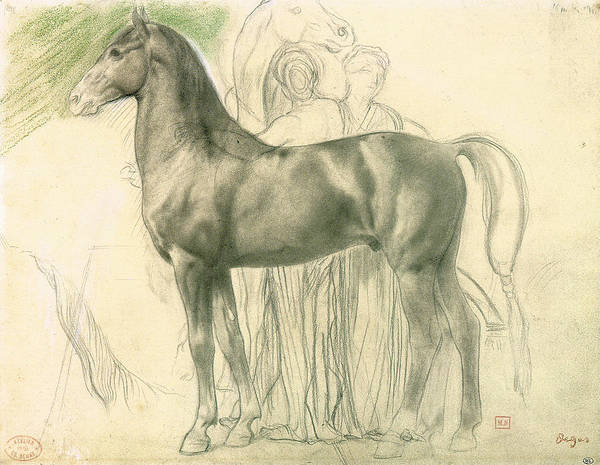 Study Of A Horse With Figures Poster featuring the drawing Study Of A Horse With Figures by Edgar Degas