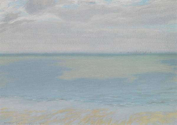 Study; Sky; Sea; Seascape; Horizon; Impressionistic; Water; Clouds; Sketch; Impressionism Poster featuring the painting Study Of Sky And Sea by Herbert Dalziel