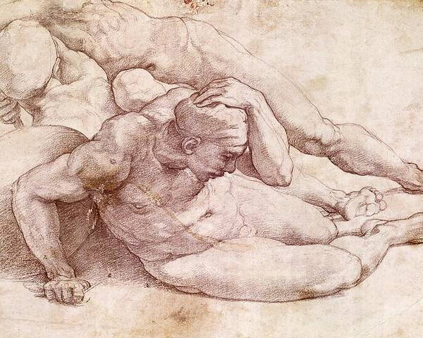 Study Of Three Male Figures (after Raphael) By Michelangelo Buonarroti (1475-1564) Poster featuring the painting Study Of Three Male Figures by Michelangelo