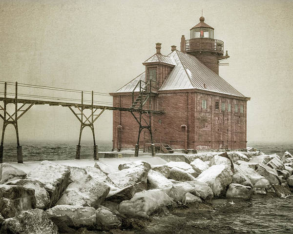 Bay Poster featuring the photograph Sturgeon Bay Pierhead Storm by Joan Carroll