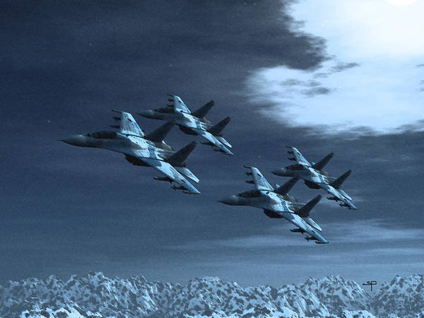 Su-35 Russian Jets Poster featuring the digital art Su-35 Russia by Steven Palmer