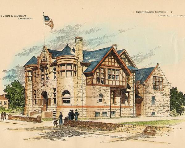 Police Poster featuring the painting Sub Police Station. Chestnut Hill Pa. 1892 by John Windrim