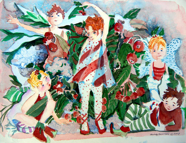 Sugar Plum Fairies Poster featuring the painting Sugar Plum Fairies by Mindy Newman