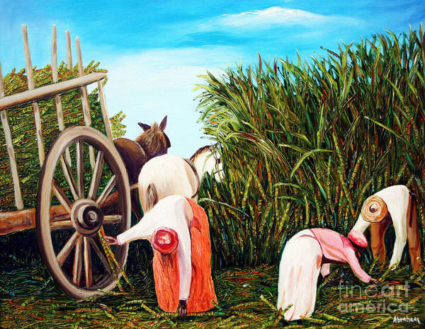 Cuban Art Poster featuring the painting Sugarcane Worker 1 by Jose Manuel Abraham