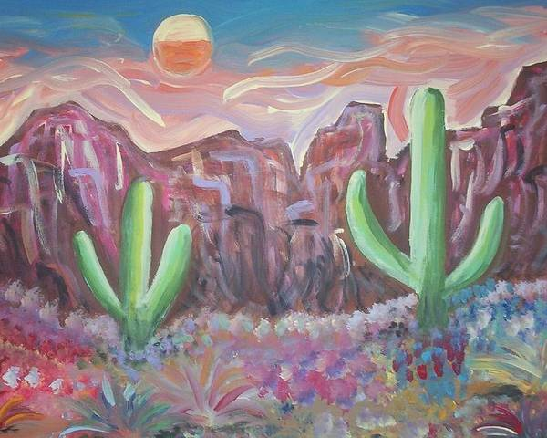 Landscape Poster featuring the painting Suggestive Desert Lands by Lindsay St john