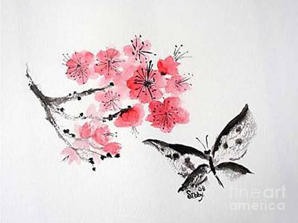 Blossoms Poster featuring the painting Sumi -e Butterfly by Sibby S