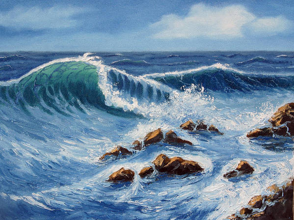 Sea Scapes Poster featuring the painting Summer At The Beach by Lorraine Foster