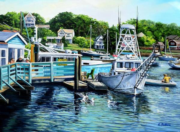 Summer Poster featuring the painting Summer At The Madfish Wharf by Eileen Patten Oliver