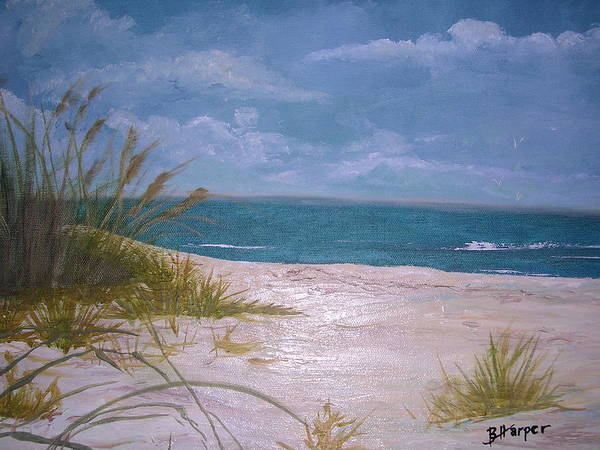Beach Poster featuring the painting Summer Beach And Sea Grasses by Barbara Harper