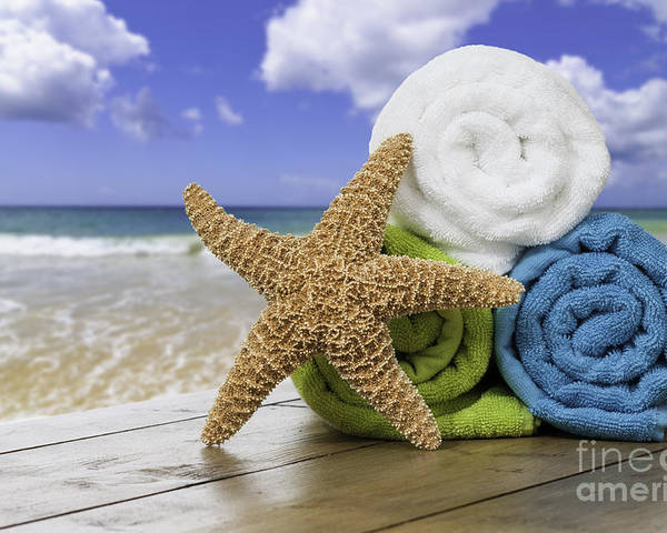 Summer Poster featuring the photograph Summer Beach Towels by Amanda Elwell
