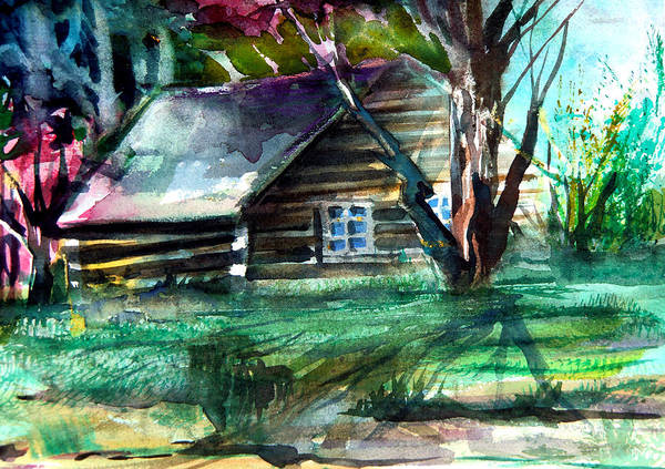 Cabin Poster featuring the painting Summer Cabin by Mindy Newman
