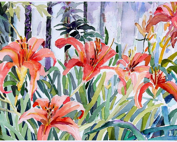 Day Lily Poster featuring the painting My Summer Day Liliies by Mindy Newman