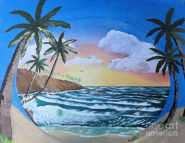 Seascape Poster featuring the drawing Summer Day by Sherri Gill