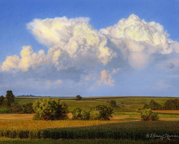 Landscape Poster featuring the drawing Summer Evening Formations by Bruce Morrison
